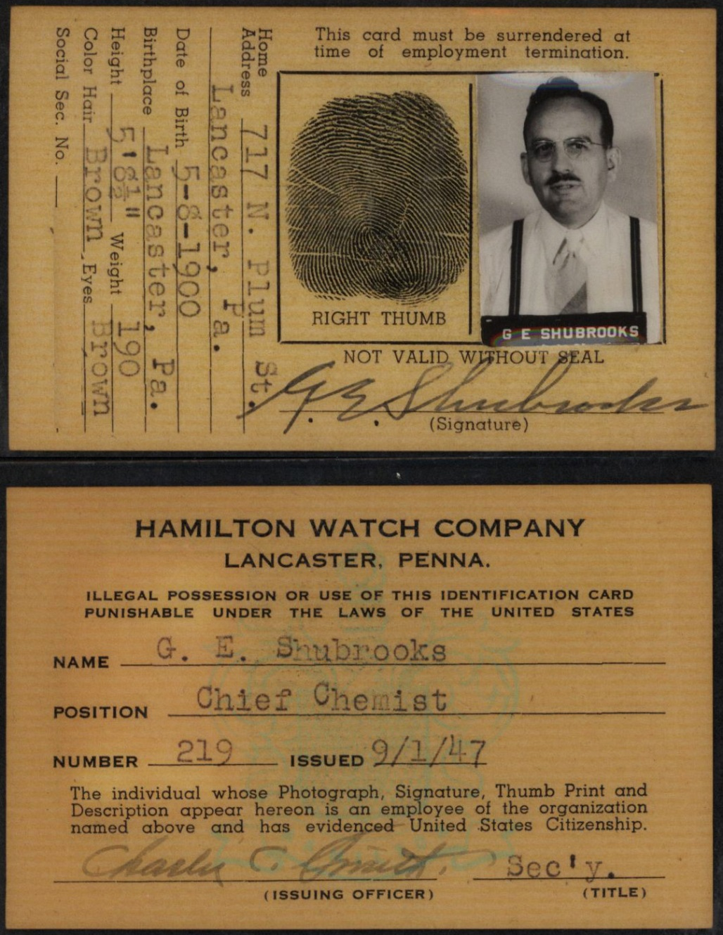 G.E. Shubrooks employee ID card. Issued 1947.