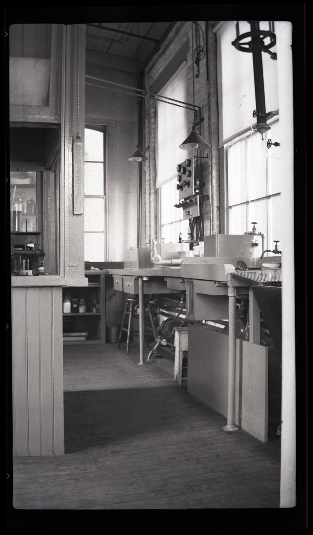 VIew of Chemistry Lab. Scan of b&w negative. Circa 1930. From Shubrooks Personal Papers.