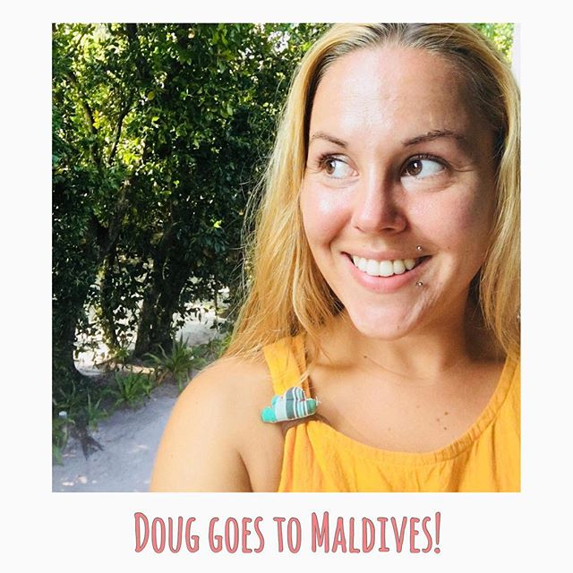 Doug goes to Maldives. @kateklund wearing our Doug, made from upcycled material by the women farmer community working under the project. To know more about Doug check out our website www.onceuponadoug.com