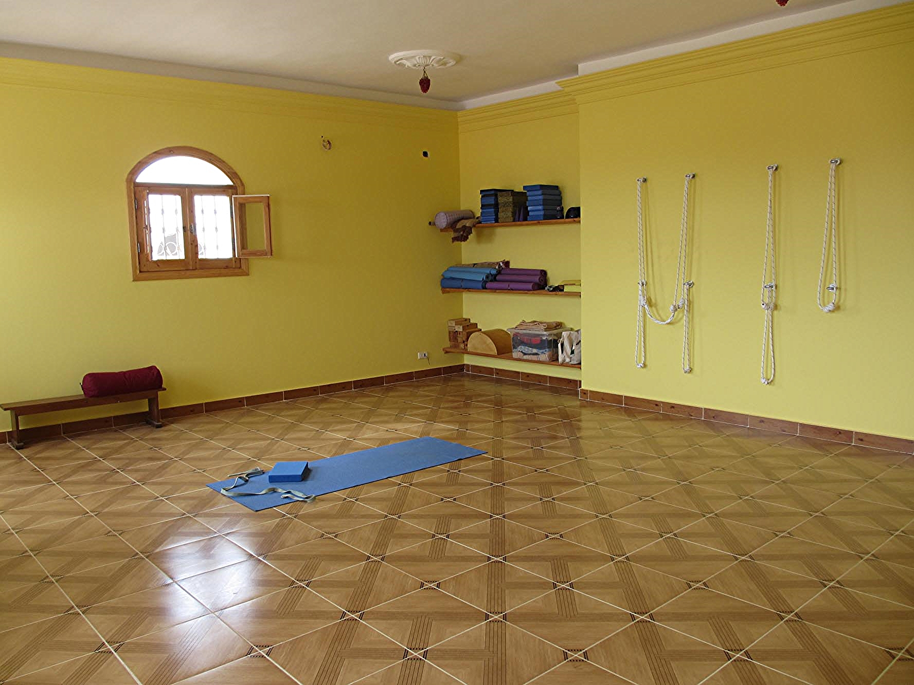 Fully Equipped Yoga Studio.