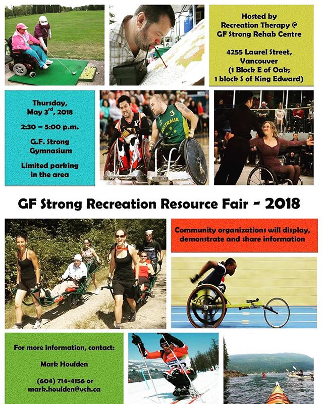 Come and join us at GF Strong on May 3rd 2:30 to 5pm. #resoucefair #resources #gfstrong #may #vancouver #ampucan #amputeecoalitionofbc #amputee #inform #info #information #fair #bc #lowermainland #recreationtherapy #therapy #rehabilitation #rehab  #strong