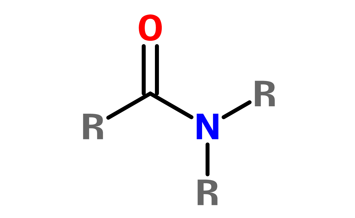 Figure 9. General structure of an amide. The R-groups can be different or the same.
