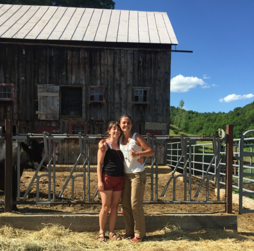 Talia & Jackie take a break from weeding our plots at Woodman Farm for an insect pest management and identification training at the University of Vermont.