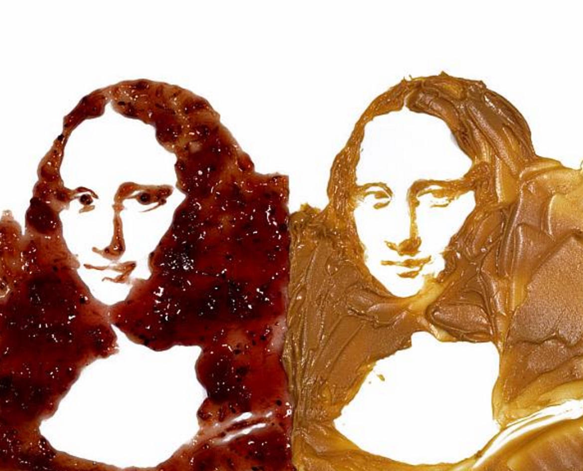 Double Mona Lisa (Peanut Butter + Jelly), After Warhol Series, 1999 | By Vic Muniz
