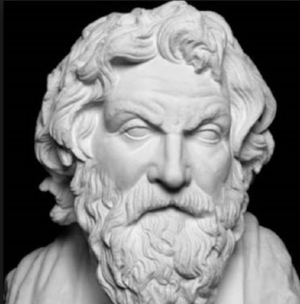 Antisthenes, the father of cynicism.  Hey, you would be cynical, too, if you had blank eyeballs.
