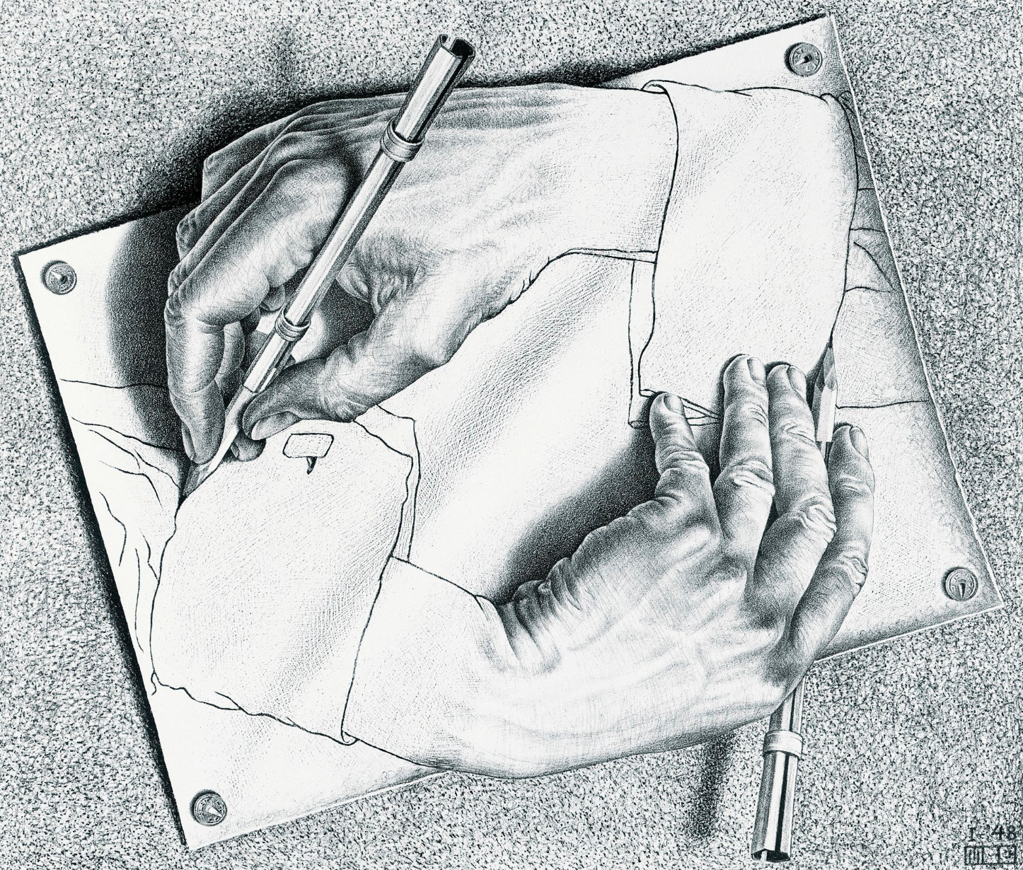 Maurits Cornelis Escher, Drawing Hands, Lithograph, January 1948