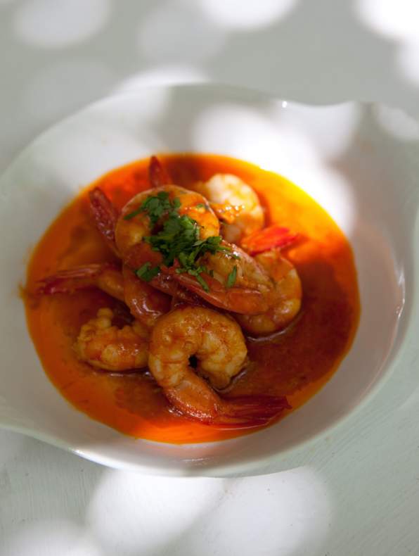 Moroccan prawns, Buenvino bed and breakfast near Seville