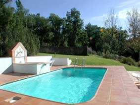 To the east of the house and up some steps to a sunny meadow, you will find the small swimming pool, 5 x 3 meters. It's perfect for cooling off on those hot summer days, and children love it.