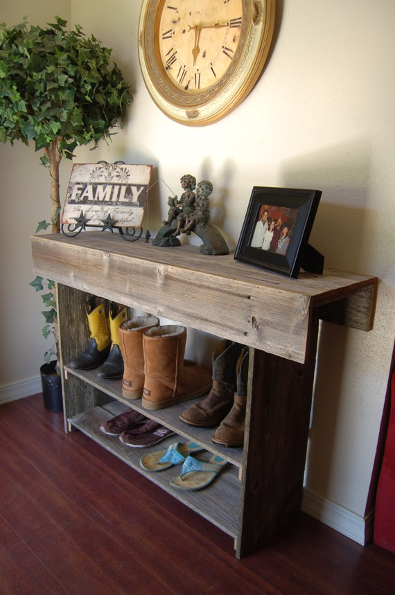 Reclaimed Wood Front Entryway Table Gravity Woodworking