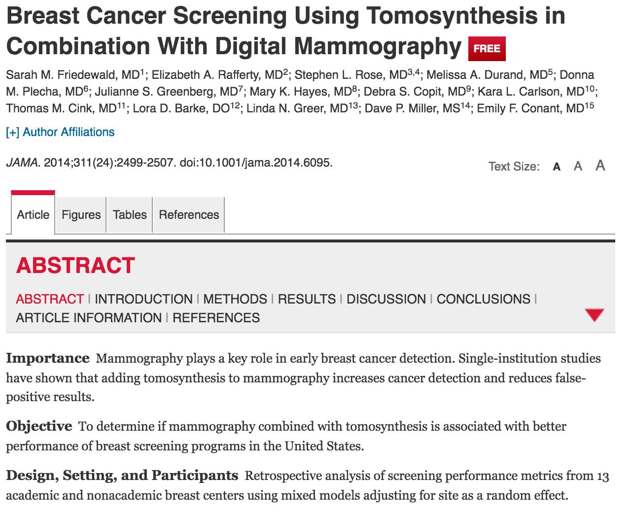 Benefits of Tomosynthesis