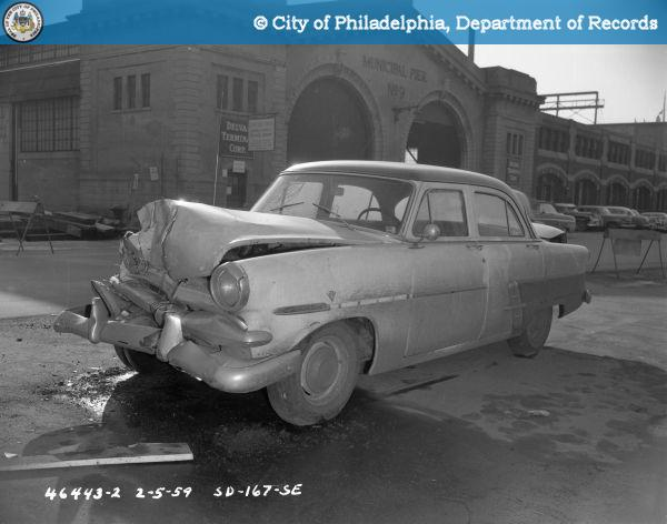 """February 1959: A crash, not an """"accident,"""" near Delaware Avenue and Race Street."""