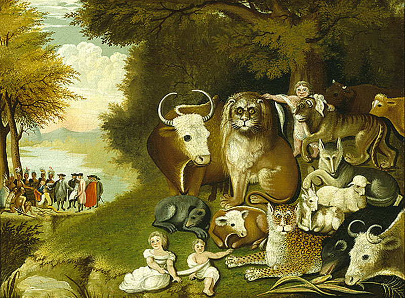 Peaceable Kingdom, Edward Hicks, ca 1833.  Courtesy of PAFA.