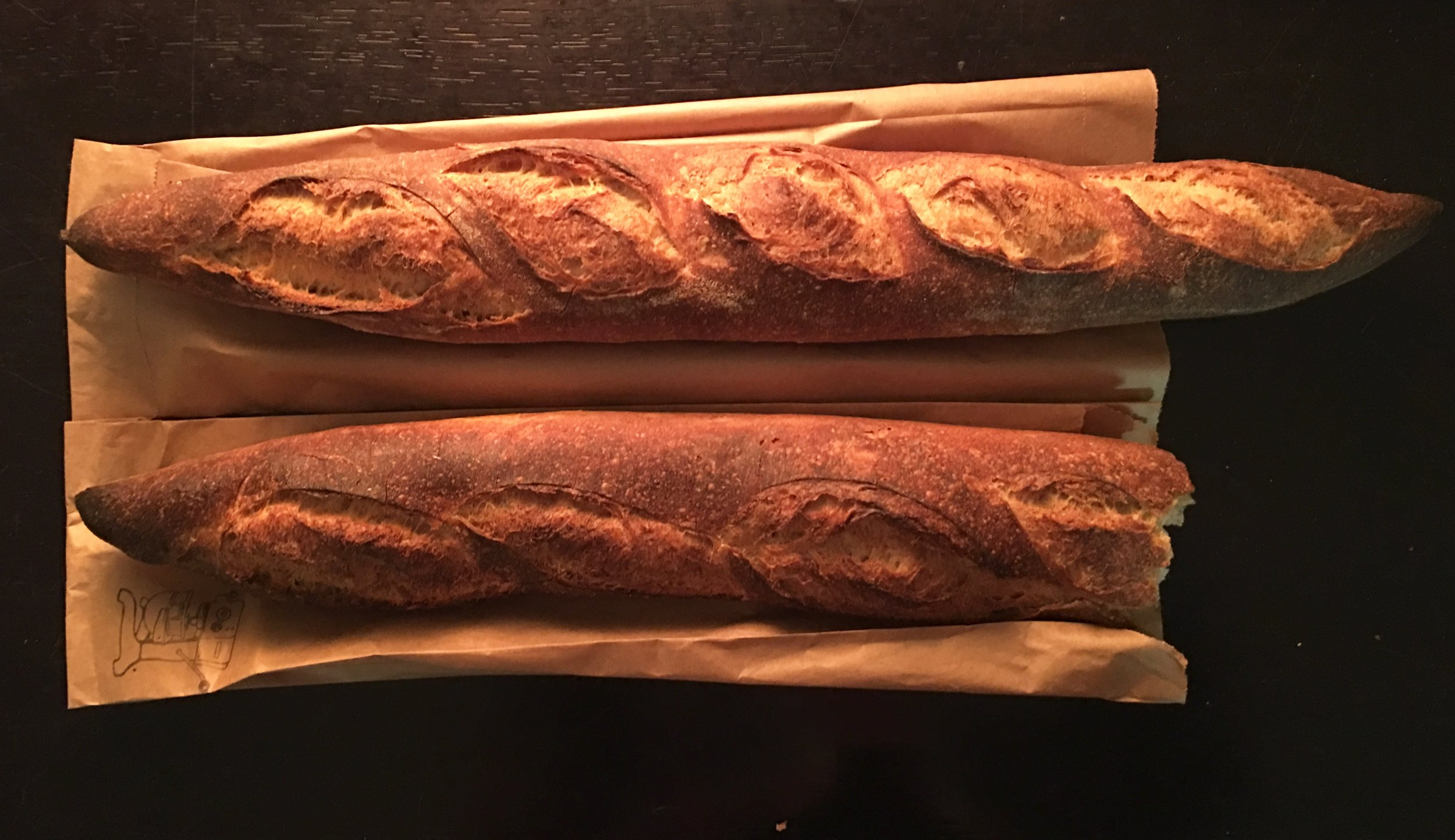 Behold, Machine Shop Boulangerie's baguette: As dark and delightful as the people meant to eat it.