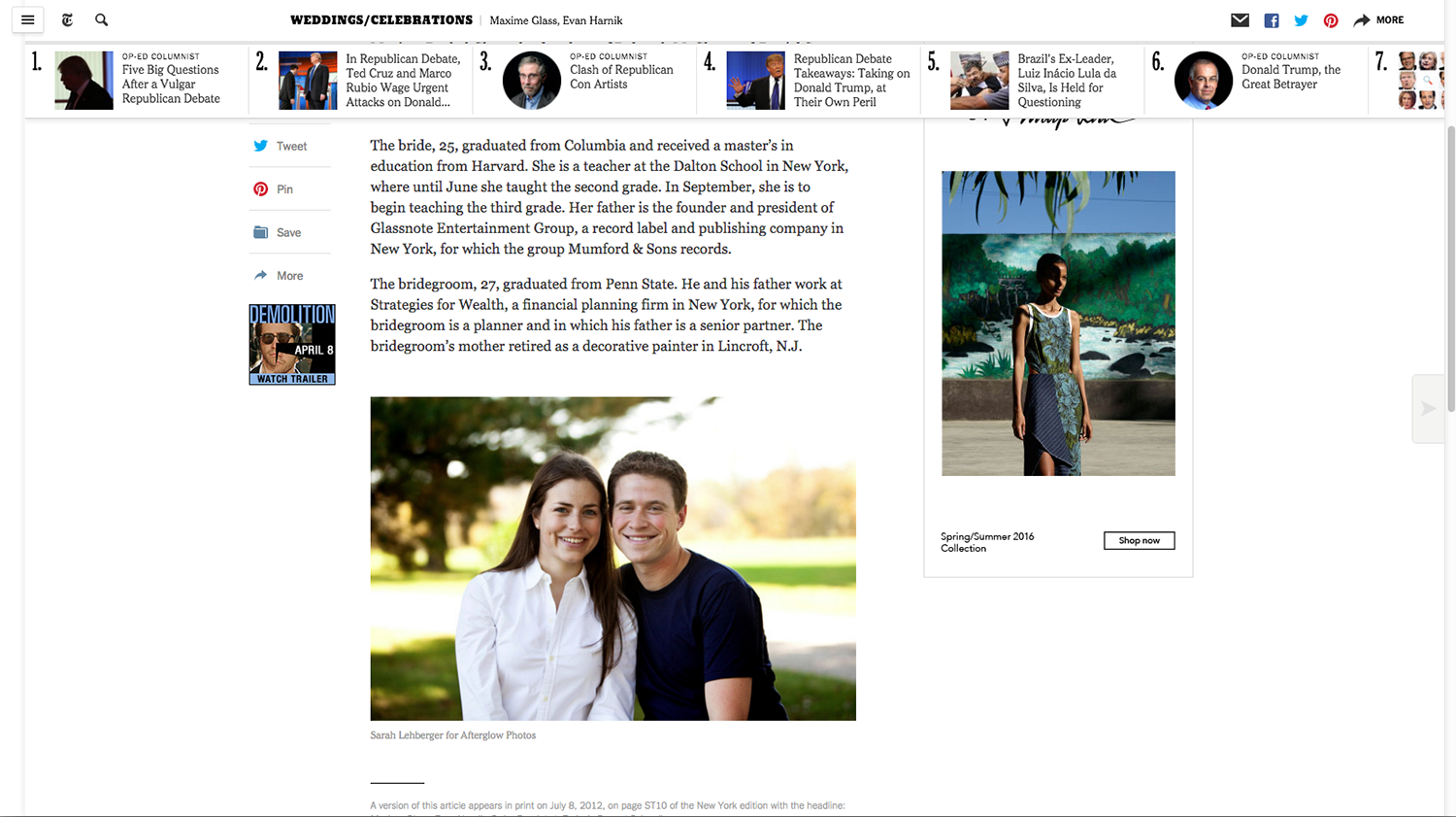 NY Times photo feature in the Engagements section