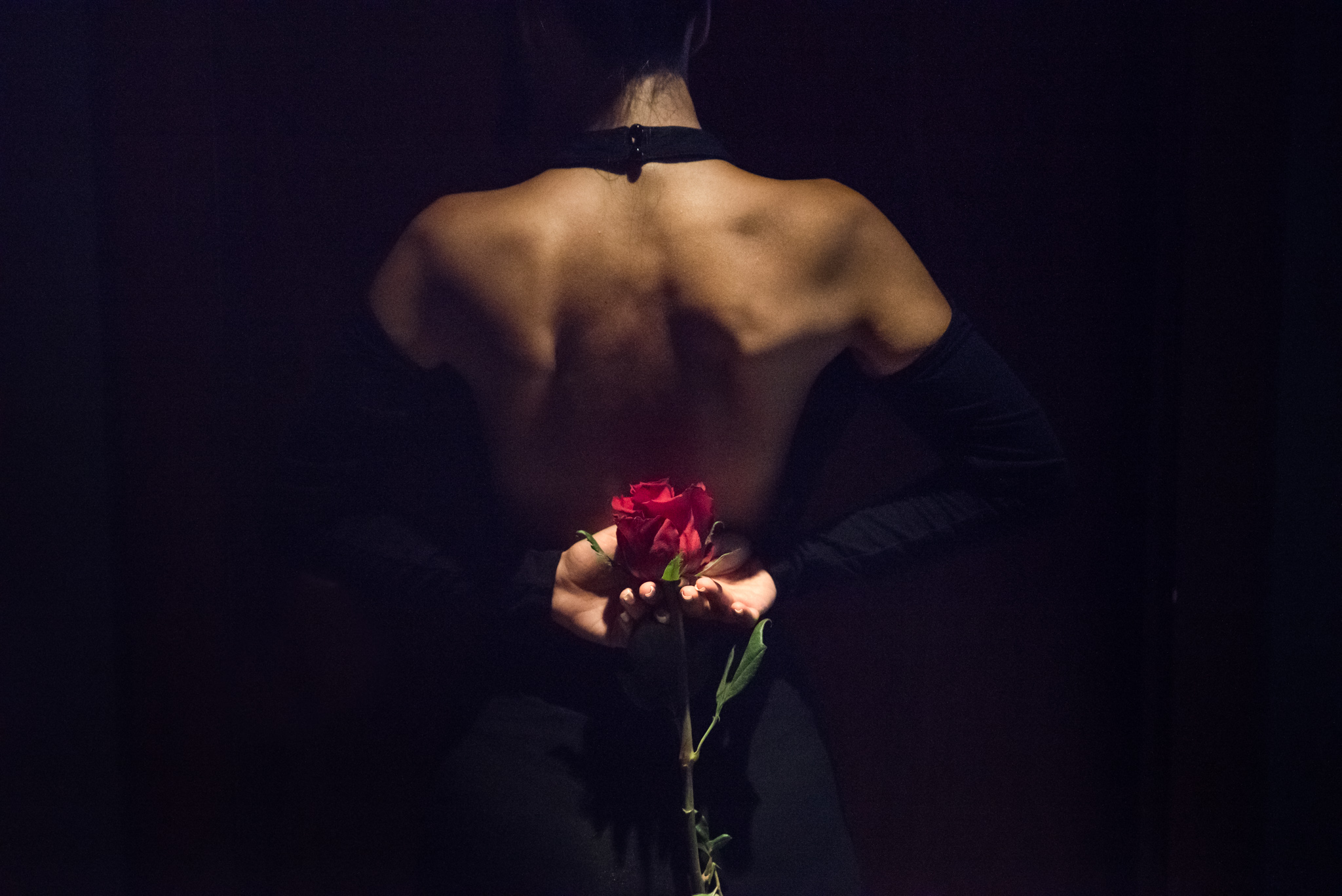 Dubai Glamour Photography boudoir image of woman holding red rose behind her back