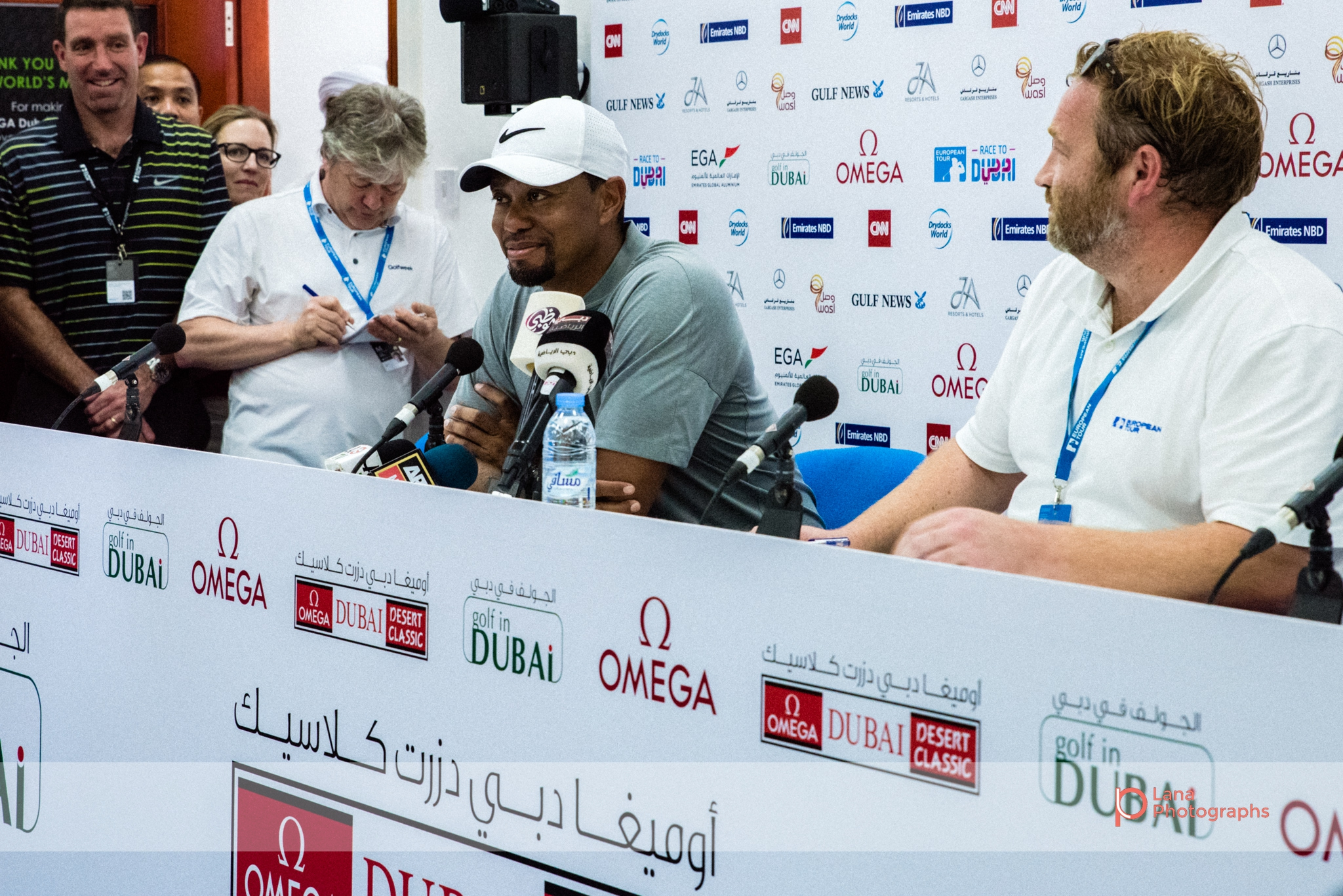 Tiger Woods  speaks at his first appearance during a press conference in February 2017 at the Omega Dubai Desert Classic