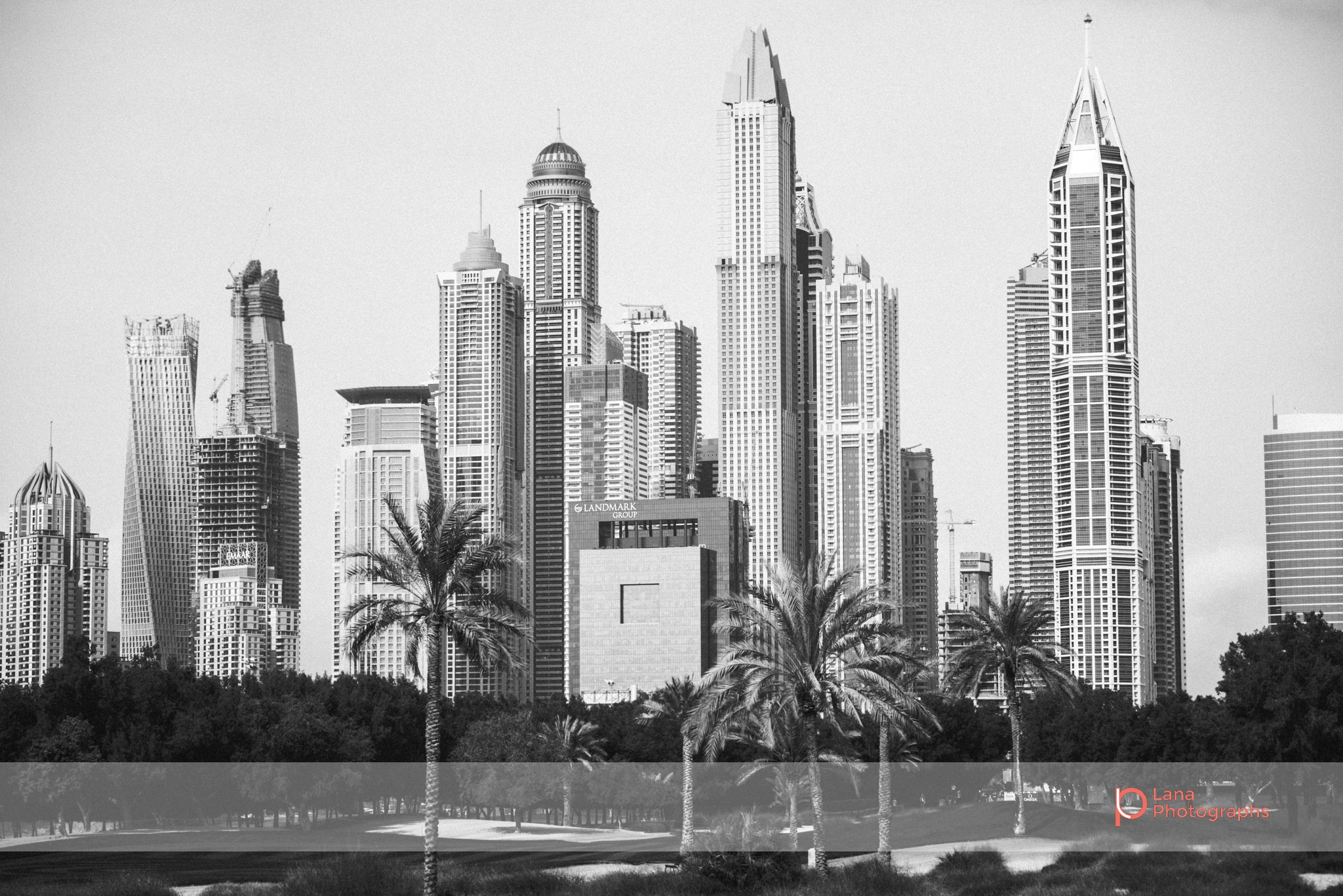 A view of Dubai Marina from the Emirates Golf Course grounds