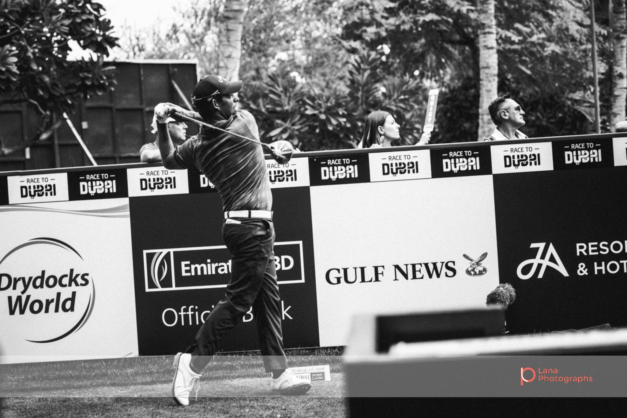 Tour Player takes a swing at the Omega Dubai Desert Classic in February 2017