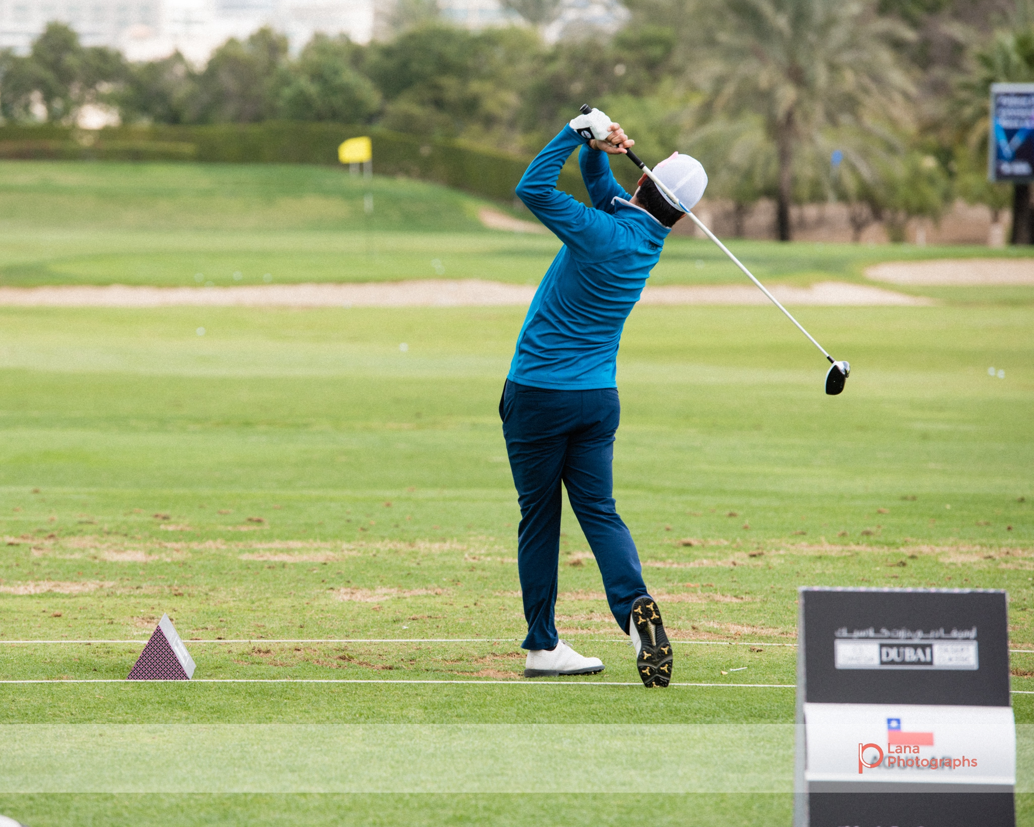 Grégory HAVRET   swings as he practices at the golfing range during the Omega Dubai Desert Classic in Dubai February 2017