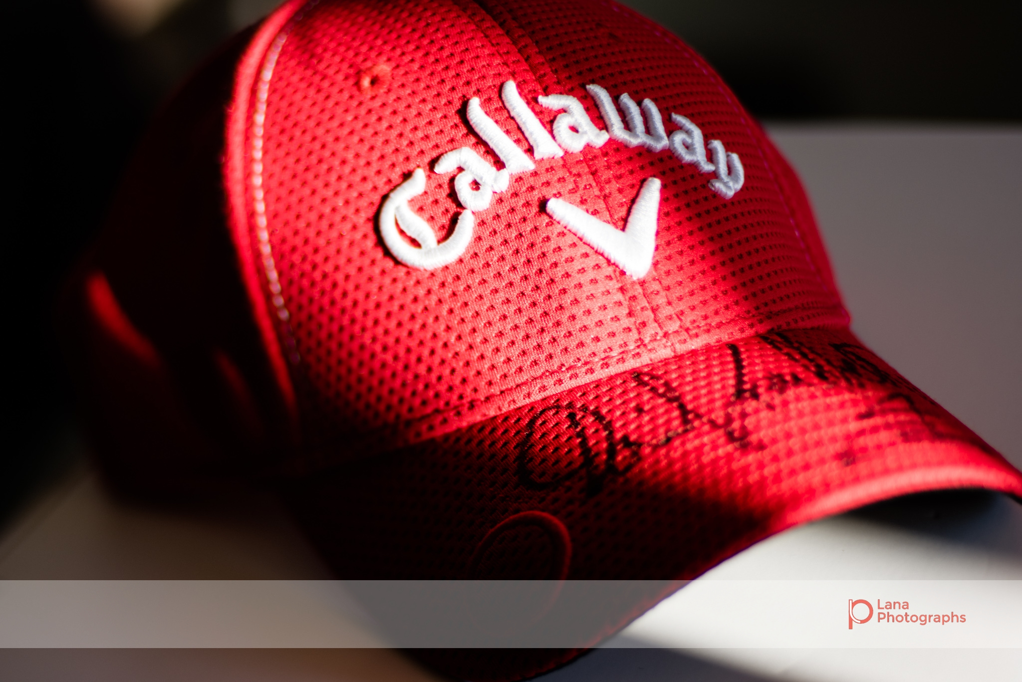 A callaway cap signed by David Leadbetter in Dubai January 2017