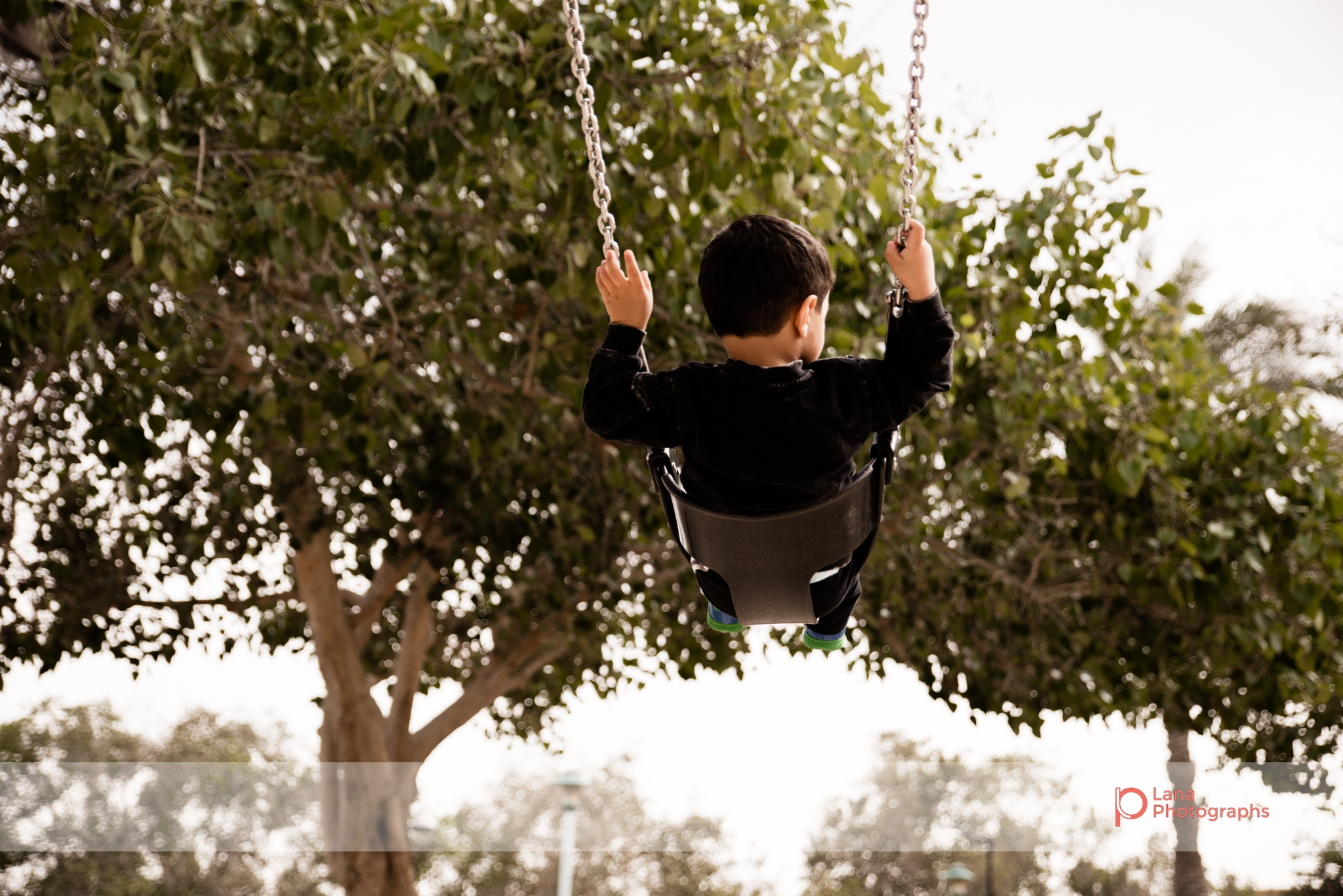 Dubai Family Photographer little boy swinging on the swings with his back to the camera in Umm suqeim park Dubai