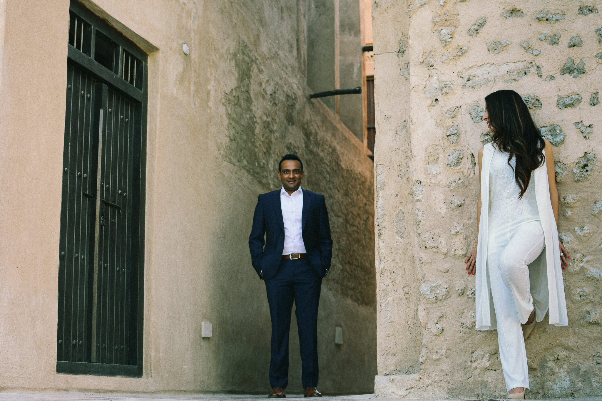 Lana Photographs Dubai Engagement Photographer portrait of a couple in bastakiya dubai