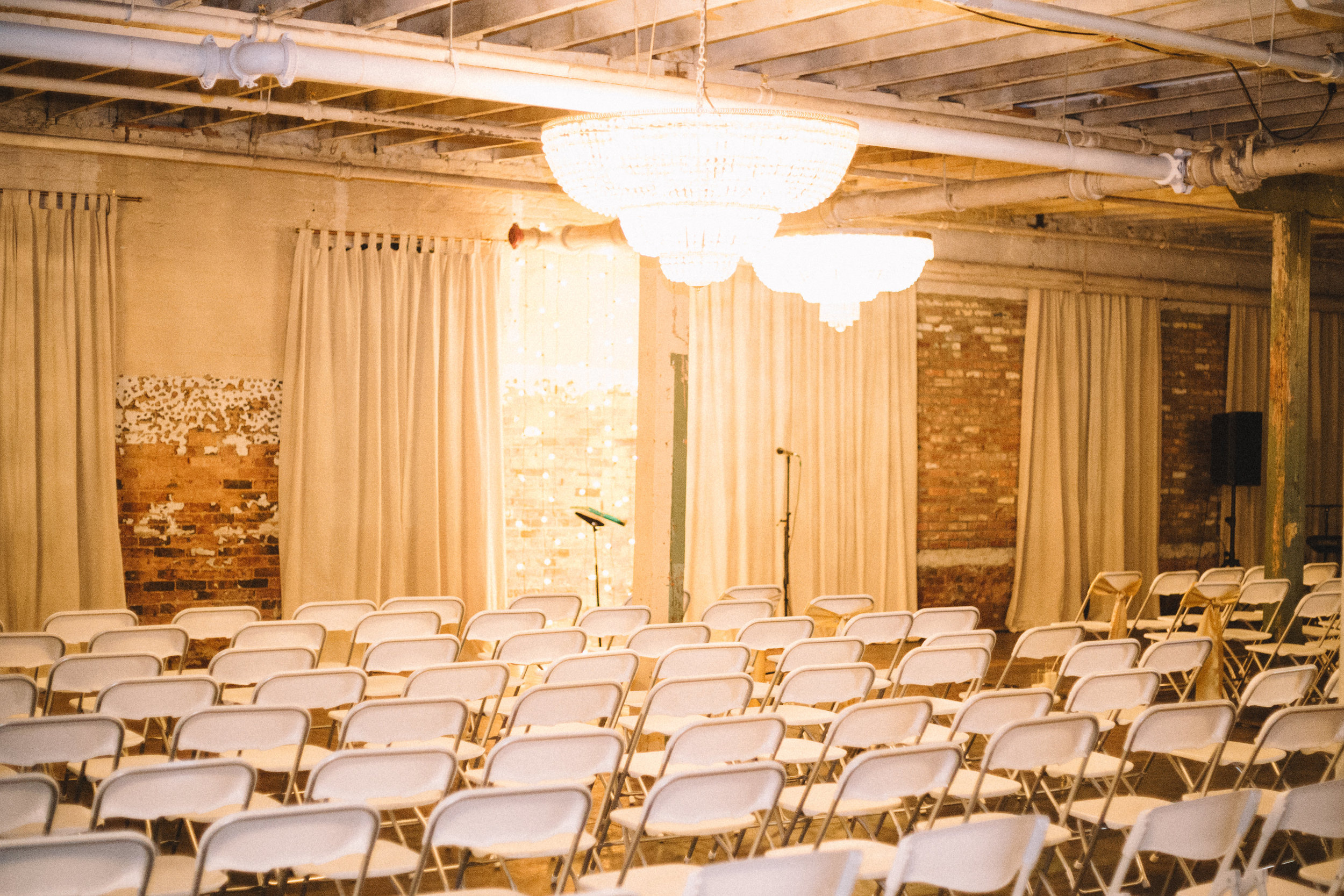 ceremony set up in the chandelier room.