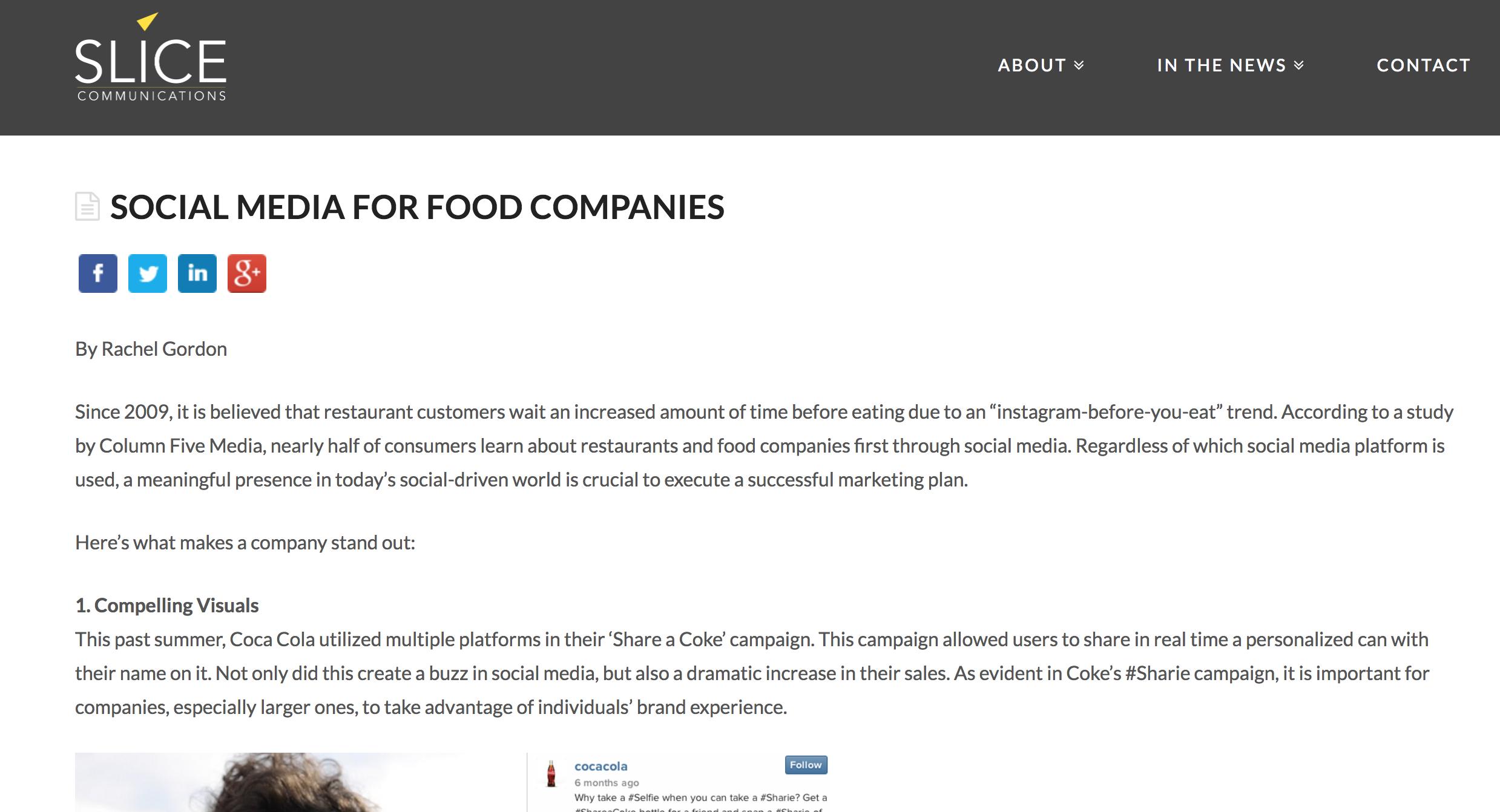 Blog: Social Media for Food Companies