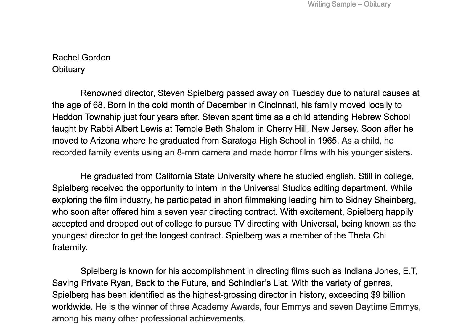 Writing Sample: Obituary