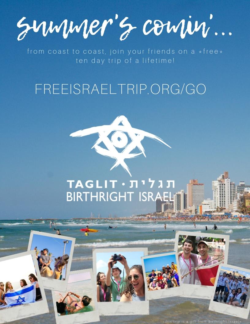 Hillel: Birthright Israel Summer Registration Flier