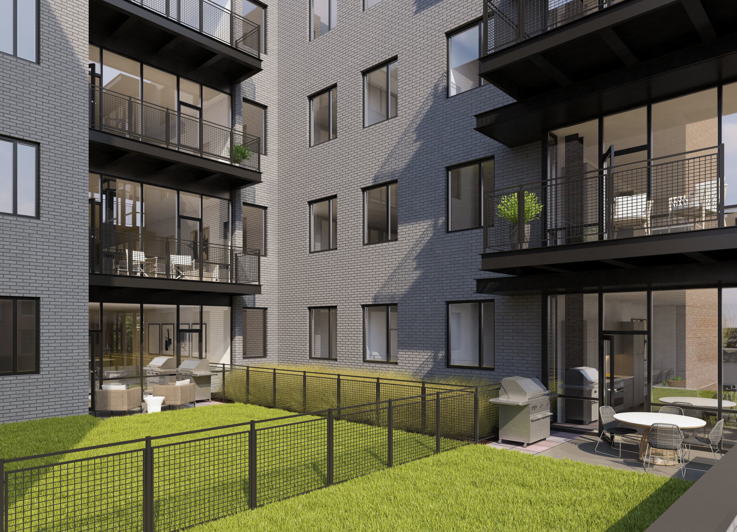 The terrace level delivers private outdoor green roof space to Units 201, 204, 205, 206 and 207