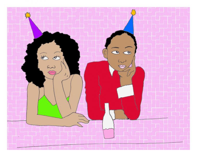 Last year the office party was held on the MLK weekend, meaning they expected everyone to stay home over the break in order to attend.  Artwork by Tess Emily Rodriguez