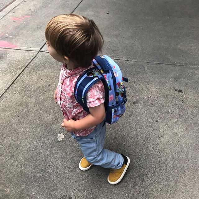 First day of preschool for this two year old! (Let me tell you, it was impossible to get him to look at the camera. 💆🏻‍♀️🤦🏻‍♀️) #thisistwo #firstdayofschool