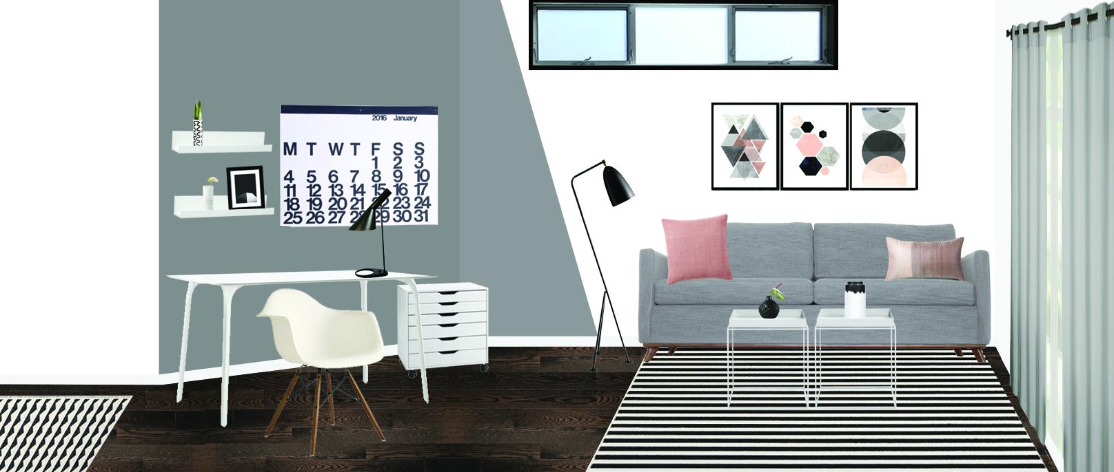 Scandinavian modern home office space, grey, neutral, millennial pink