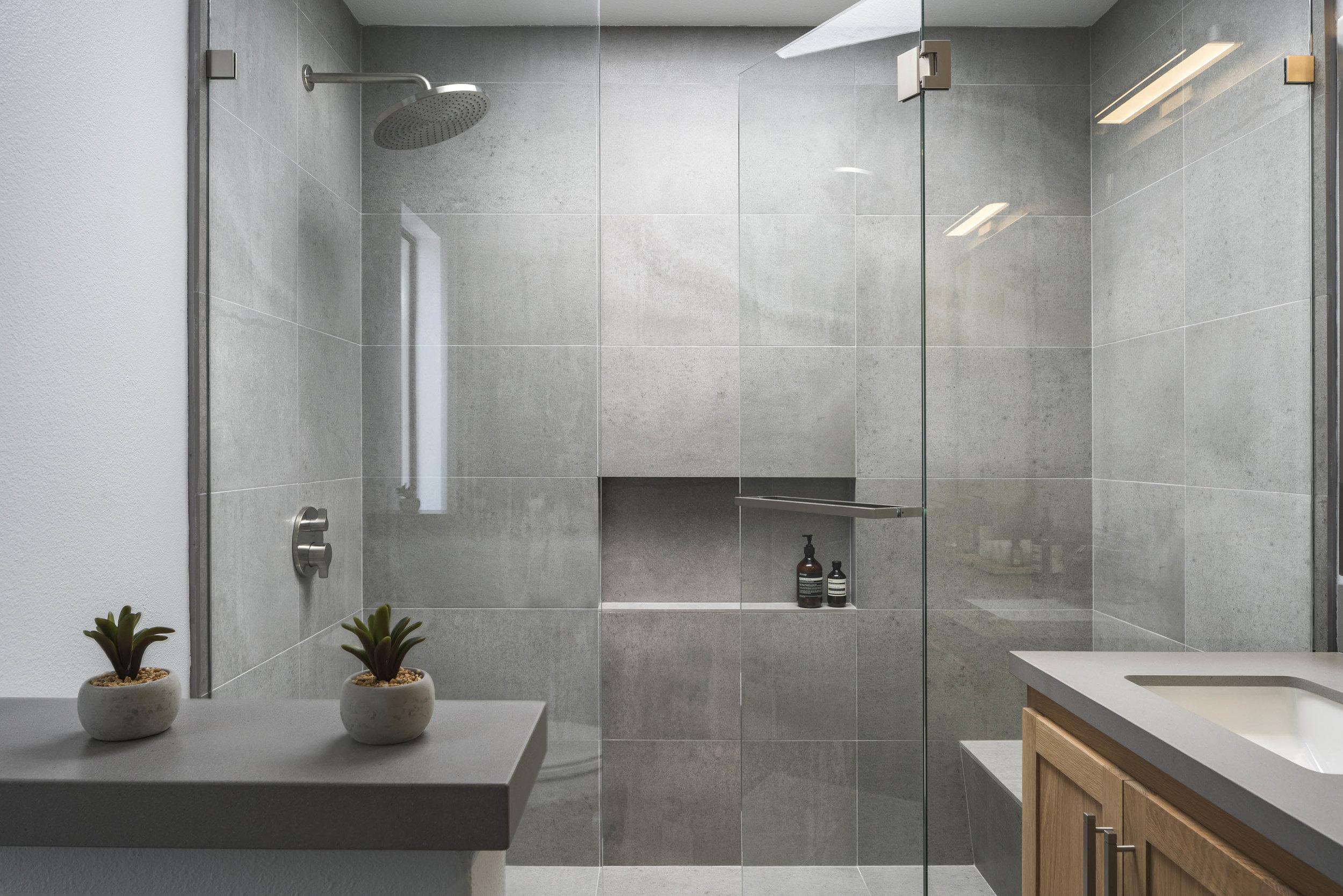 Modern Grey master bathroom, guest bathroom, powder room remodel