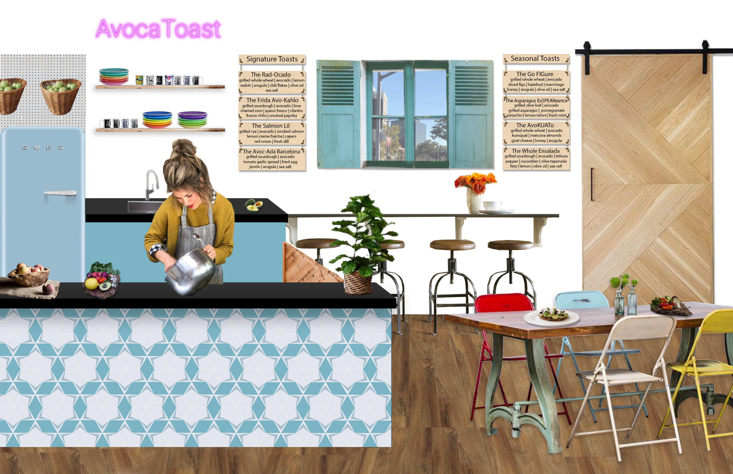 AvocaToast LA, avocado toast, conceptual design, schematic design, graphic, Los Angeles, foodie