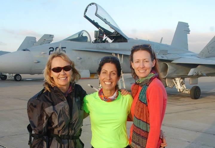 Carla, Nicole, and I take to the runway.