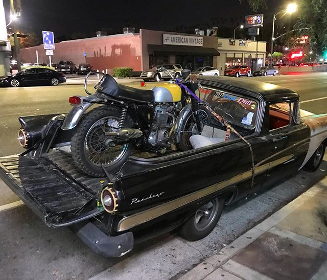 Hard to pass up vintage on vintage on vintage, the latter of which promptly removed himself from the photo. I think I had his attention at 'nice BSA' on this currently unbadged/80% finished 60's-era Victor project. He offered me a drag on his joint. #lalife #bikelife #vintage #vintagemotorcycle #bsa #victor #offroad #ford #ranchero #sunsetboulevard