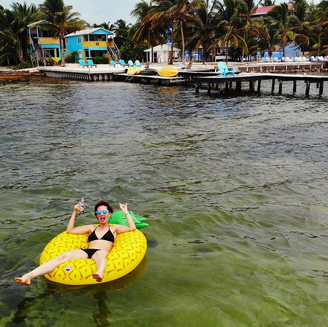 Because nothing says 40 deuce like drinking a Carib with a burnt bootayyy while floating in a pineapple in the Caribbean Sea amongst the Belizean Cayes with nothing else but your sweetie. #thisis42 #lifeisgood #goslow