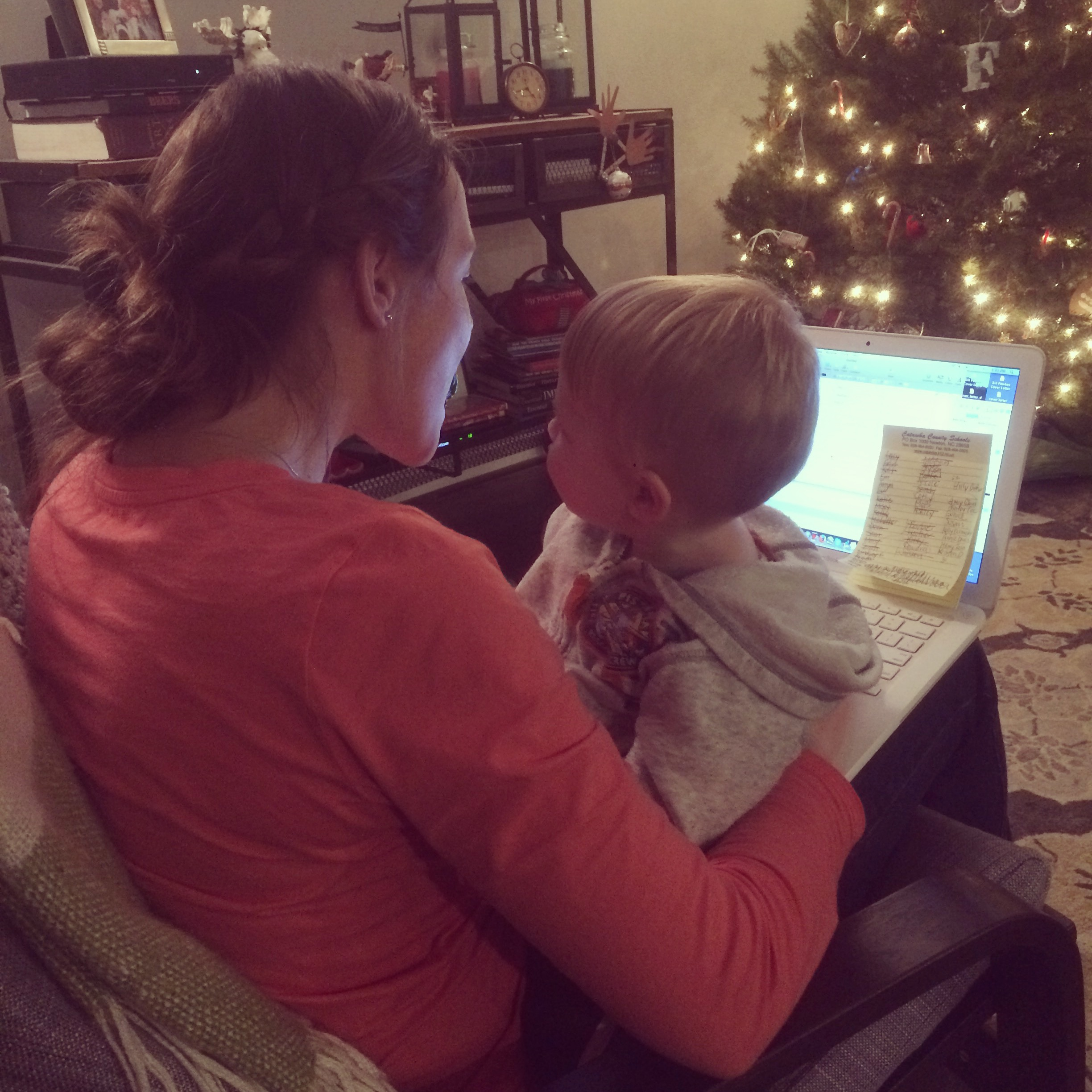 This is how I can get some writing done. Weston on my lap and Violet watching a quick show!