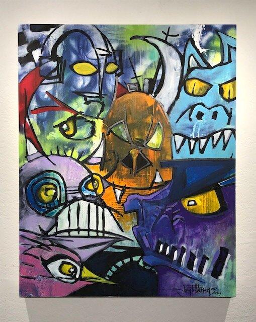 Rogues Gallery  Joey Feldman    mixed media on archival panel  30 x 24 x 2 in  $4000