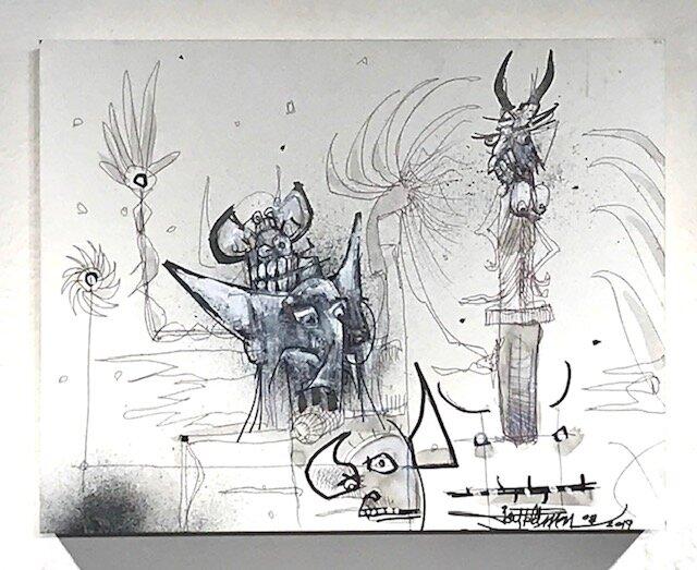 Elephant Thieves  Joey Feldman   Indian ink on archival panel 11 x 14 x 2  in  $1500