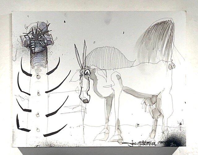 Horse Thief  Joey Feldman   Indian ink on archival panel       11 x 14 x 2  in  $1500
