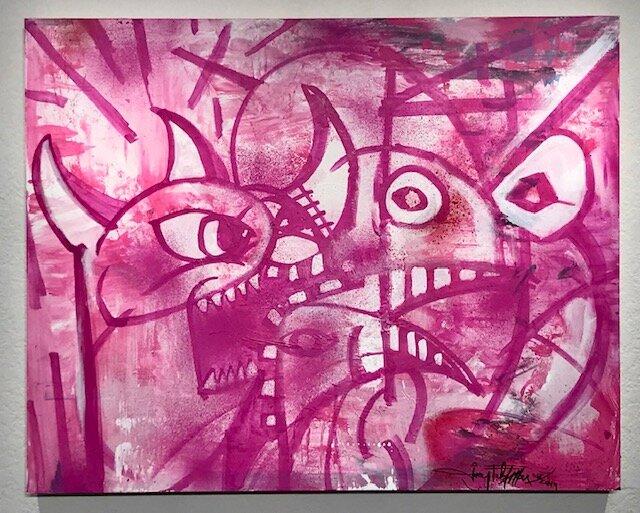 The Pink    Joey Feldman   mixed media on archival panel  24 x 30 x 2 in  $4000