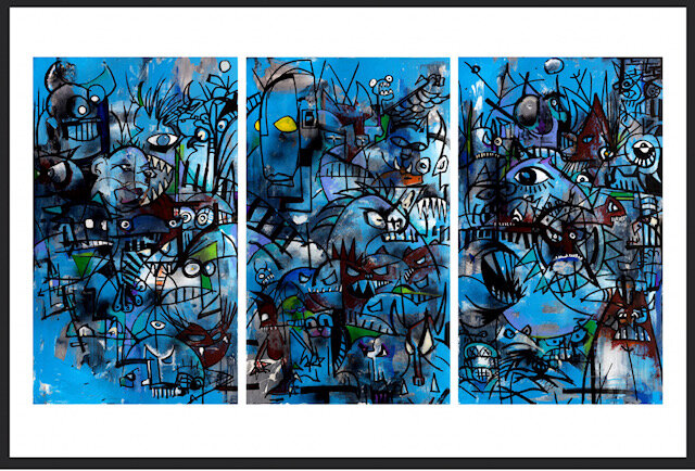 """Joey Feldman """"Blue Monday"""" triptych uncut   giclée on 350GSM cold press cotton rag  36 x 24 inches Edition of 12, signed and numbered  black line to show border size, not part of print   SOLD OUT ($500)"""