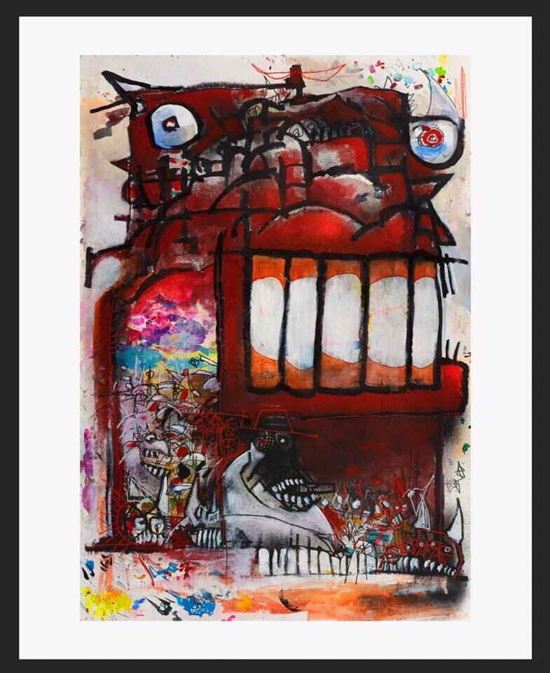 """Joey Feldman """"Gallimaufry""""   giclée on 350GSM cold press cotton rag  20 x 16 inches Edition of 18, signed and numbered  black line to show border size, not part of print   SOLD OUT ($250)"""
