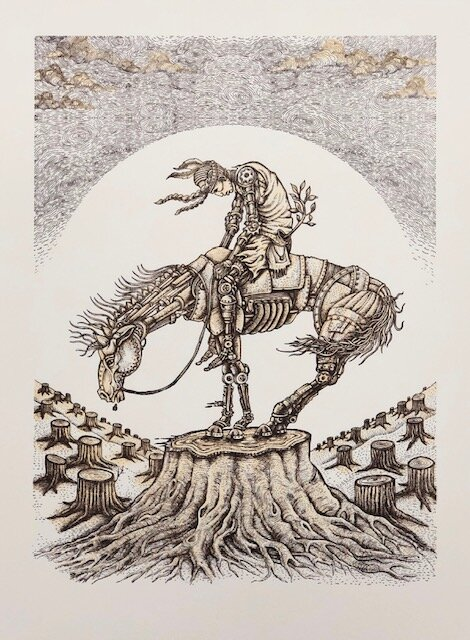 """Emek """"End of the Trail""""   letterpress on 300 GSM cotton rag with hand embellished leaves (not pictured)  12.75 x 9.5 inches Edition of 120, signed and numbered  SOLD OUT ($70)"""