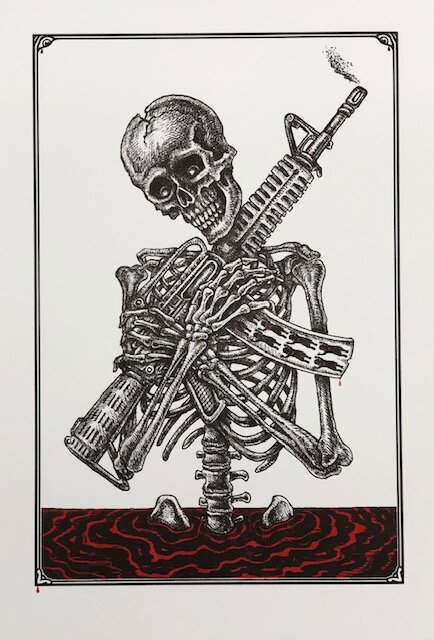 """Emek """"Muh Rights! (Ammosexual)""""   letterpress on brilliant white 320 GSM cotton rag  12.75 x 9 inches Edition of 120, signed and numbered  SOLD OUT ($70)"""