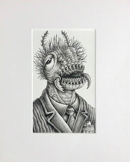 Mr. Creeb  Emek   archival ink on archival paper  16 x 13 x 1 (framed)  $750