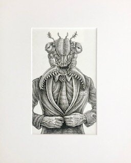 Come Up and See Me Sometime, My Little Cicadoidea  Emek   archival ink on archival paper  16 x 13 x 1(framed)  $750